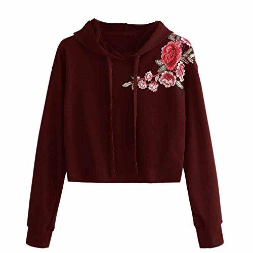 Trim Jumper (POCCIOL Fashion Blouse,Women Long Sleeve Hoodie Sweatshirt Jumper Sweater Crop Top Embroidery Pullover Tops (Wine, L))