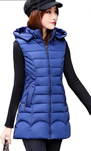 EKU Hooded Thickened Casual Coat Blue Women's Vest Denim Down Long qEn4rqW