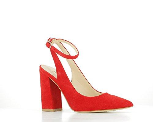 GUESS Zapatos de Tacón con Talón Descubierto, Color Rojo, T. 36