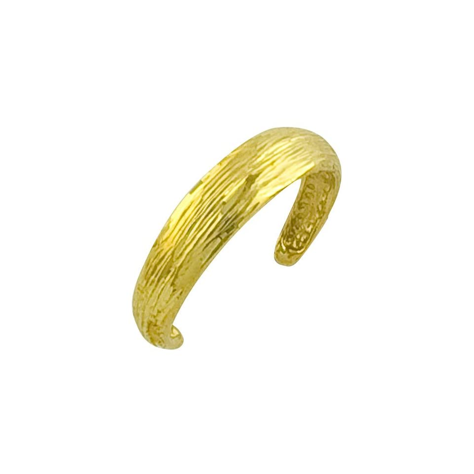 14 Karat Yellow Gold Diamond Cut Toe Ring Jewelry