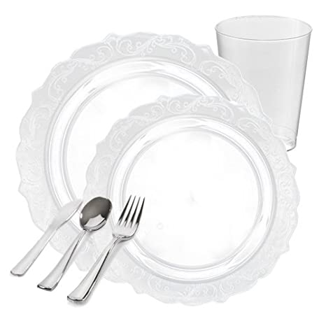 Posh Party Supplies | Elegant Clear Plastic Dinnerware Package for 20 Guests | Includes Dinner u0026  sc 1 st  Amazon.com & Amazon.com: Posh Party Supplies | Elegant Clear Plastic Dinnerware ...