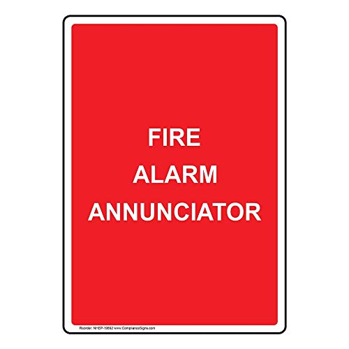 Fire Alarm Annunciator Sign, Red 10x7 in. Plastic for Fire Safety/Equipment by ComplianceSigns