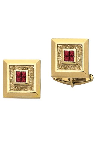 (14K Yellow Gold Cufflinks With 4 Princess Cut Rubies In Center-86298)