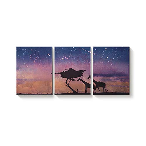 3 Piece Canvas Wall Art Oil Painting Home Art Decor,The Shadow of Giraffe Tree Universe Pattern Pictures Artworks for Office,Stretched by Wooden Frame,Ready to Hang,12x20inx3 Panels for $<!--$58.49-->
