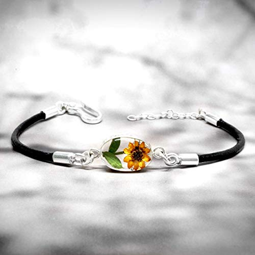 (Sterling Silver Bracelet with a Real Natural Pressed Miniature Sunflower (Symbol of Happiness and Light) in a Transparent Background and a .925 Leather Strap - GIFT BOX - Perfect GIFT FOR MOM -)