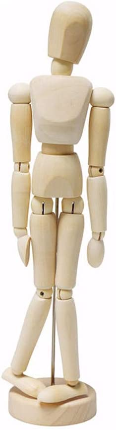 VIccoo Wooden Joint Doll Sketch Wooden Man 12 Inch 1Piece Artist Movable Limbs Male Wooden Figure Model Mannequin Art Class Sketching