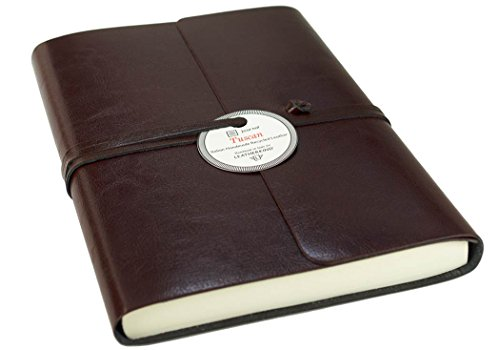 Tuscan Large Chocolate Handmade Recycled Leather Wrap Journal, Lined Pages (21cm x 15cm x 2cm)