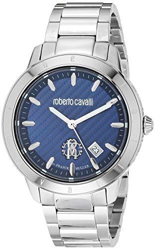 ROBERTO CAVALLI Men's RC-98 Swiss Quartz Watch with Stainless Steel Strap, Silver, 24 (Model: RV1G111M0076)