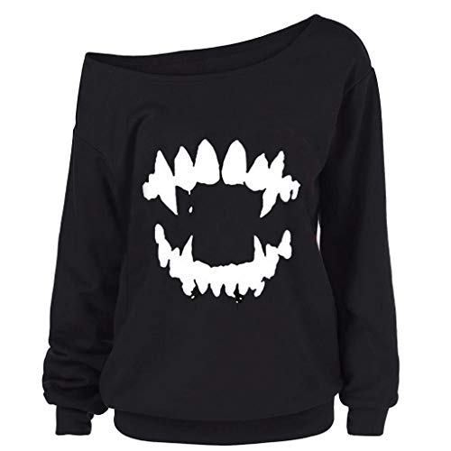 RAINED Womens Round Neck Halloween Blouse Gothic Scary Nice Long Sleeve Sweatshirt Print Pullover Hooded ()