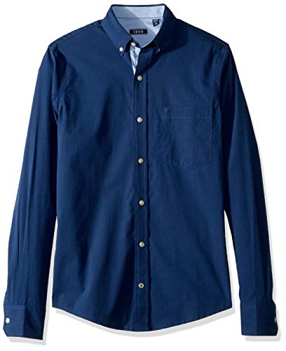 - IZOD Men's Slim Fit Button Down Long Sleeve Stretch Performance Solid Shirt, Peacoat, XX-Large slim