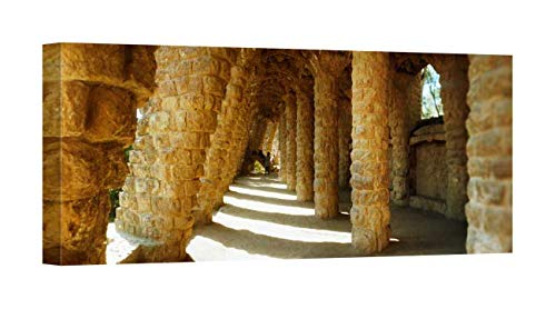(Easy Art Prints Panoramic Images's 'Architectural Details, Antonio Gaudi, Park Guell, Barcelona, Catalonia, Spain' Canvas Art 20 x 8)