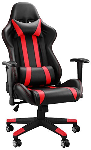41 nduR2z4L - Happybuy-Racing-Gaming-Chair-PU-Leather-Ergonomic-Design-Racing-Chair-High-Back-Computer-Chair-360-Degree-Swivel-Office-Chair-BlackRed