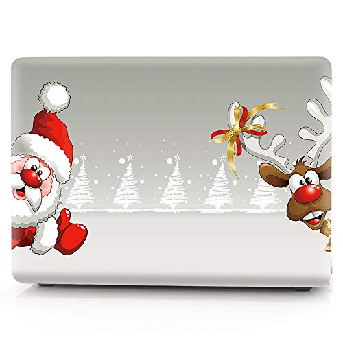 HRH Christmas Deer Santa Claus Print Design PC Laptop Body Shell Protective Hard Case for MacBook Air 13.3