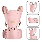 Baby Carrierwith Cushion Hip Seat and Windproof Cap Perfect for Newborn, Infant, Hiking-Pink