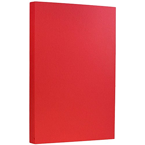 JAM PAPER Legal 65lb Cardstock - 8.5 x 14 Coverstock - Red Recycled - 50 Sheets/Pack