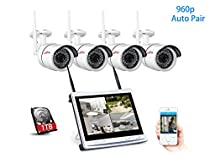 Wireless Surveillance Camera System, ANRAN 4CH 960P HD 12 inch Built-in Monitor NVR and 4pcs Weatherproof IP Cameras, Home Security Motion Detecting Free app Remote View 1TB HDD