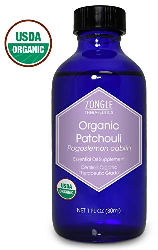 Zongle USDA Certified Organic Patchouli Essential Oil, India, Safe to Ingest, Pogostemon Cablin, 1 oz