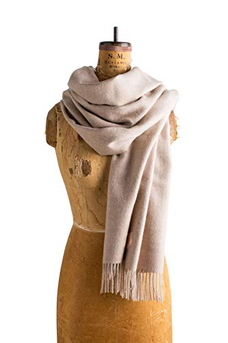 Angora Scarf - Maloca | Baby Alpaca Oversized Scarf | 100% Baby Alpaca Wool | Ethically Sourced | Naturally Resists Dirt and Moths | Hypoallergenic | 28 x 75 inches | Oatmeal