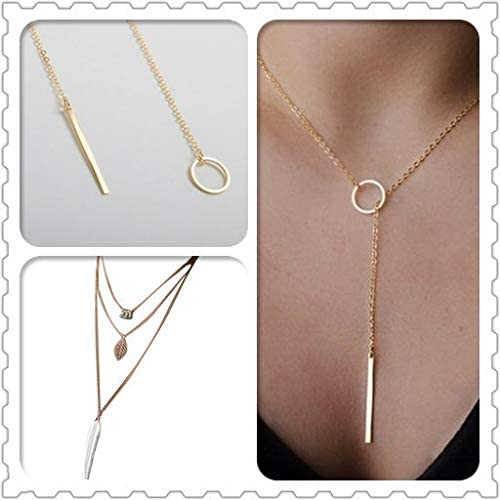 18K Rose Gold Filled Women/'s Girl/'s Solid Lucky Choker Bar Charm Necklace Chain