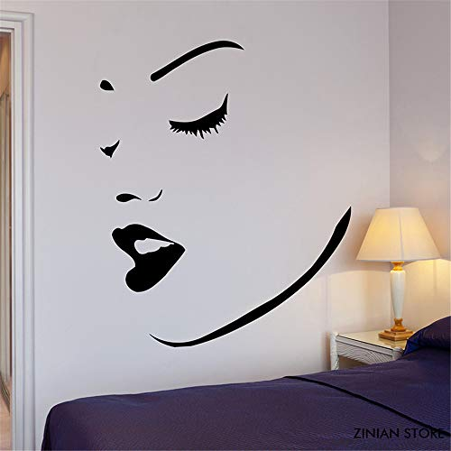 Jiesa Quotes Wall Sticker Mural Decal Art Home Decor Perfect Sexy Girl Women Face Lips Makeup Spa Decor for Gilrs Bedroom Home -