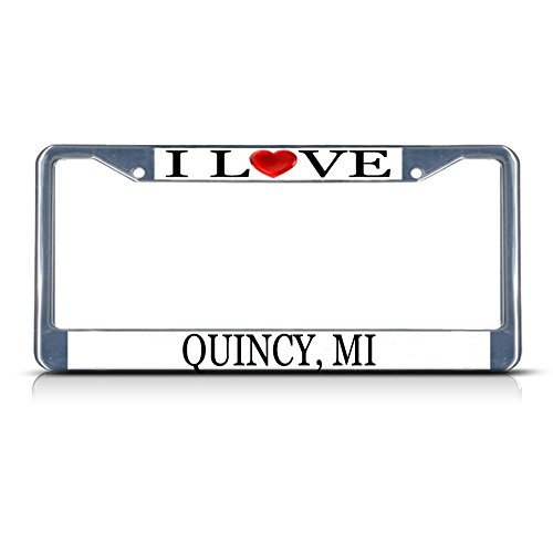Price comparison product image License Plate Frame I Love Heart Quincy Mi Aluminum Metal License Plate Frame Silver