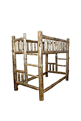 Rustic Pine Log Bunk Beds - QUEEN OVER QUEEN - Amish Made in USA