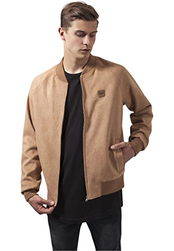 Jacket Suede Bomber - Urban Classics Jacket Imitation Suede Raglan Bomber, Color:camel;Größe:M