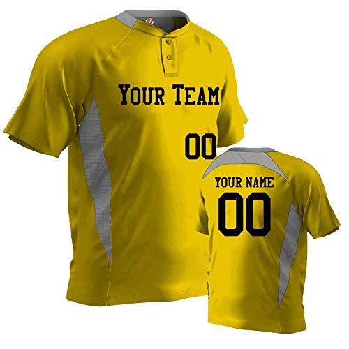- Basic 2 Button Contrast Angle Custom Baseball Jersey, Gold, White, Adult Large