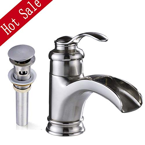 - Saeuwtowy Waterfall Spout Bathroom Basin Faucet/Tap Single Handle Deck Mounted Vintage Classic Basin Faucet Brushed Nickel Basin Faucet Cold and Hot Water Mixer Face Basin Faucet for Bathroom