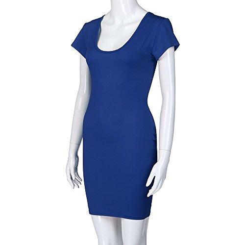 Ladies Sexy Dress,LuluZanm Women Short Sleeve Solid V-Neck Slim Casual Mini Beach Dress Blue by Luluzanm-Dress (Image #5)