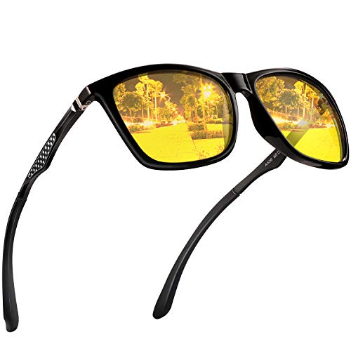Night Vision Glasses for Driving - Feirdio HD night driving glasses anti glare polarized mens women glasses (yellow-yellow-Square)