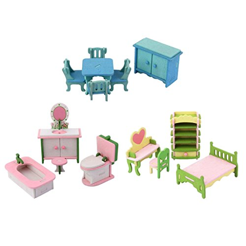 Jili Online Hand Painted 1:12 Dollhouse Miniature 14 Pieces Wooden Furniture Multicolor Bed Bath Living Room Sets Model Collections Decoration