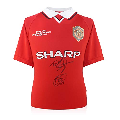 Teddy Sheringham And Ole Gunnar Solskjaer Signed 1999 Manchester United Champions League Soccer Jersey (1999 Jersey)