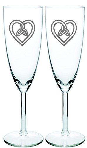 IE Laserware Irish Celtic Wedding Trinity Heart Knot Champagne Toasting Flutes Set of 2