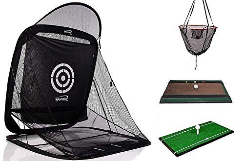 - Spornia 3pc Golf Bundle | Spg-7 Golf Practice Net | Heavy Hitting Golf Mat | Swing Indicator Trainer Attachment (2 EA) | Pro. & Reg Ball Return Chipping Target Basket (2 EA)
