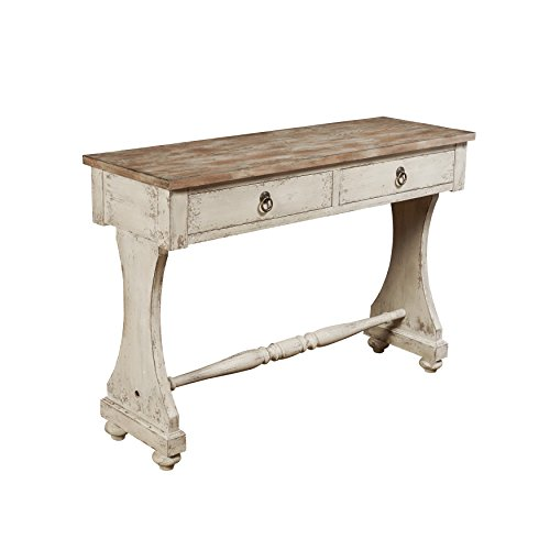 Sofaweb.com Hand Painted Distressed Weathered White Console Table (Coffee Hand Painted Console)