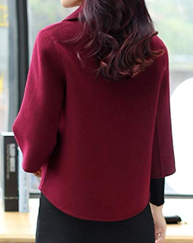 4 Coat 3 Double Fit Turn Breasted Fashion Wine RkBaoye Red Women Down Length Collar SaTnwxCq