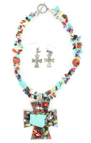 Blazin Roxx 2980097 Stone Cross Necklace Multi Stone
