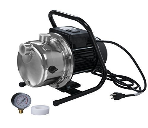 Lanchez Stainless Steel and Cast Iron Clean Water Pump 3/4 Hp Lawn Sprinkling Pump with Pressure Gauge, (Stainless Steel Jet Pump)