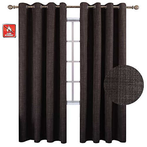 - KEQIAOSUOCAI Thermal Insulated Blackout Window Curtain Flame Retardant Linen Grommet Panel/Drape for Bedroom,Kitchen (1 Panel, W52xL84 inches, Brown) Back to School