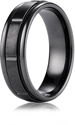 Benchmark Black Titanium 7mm Comfort-Fit Satin-Finished Round Edge Design Wedding Band Ring, Size 13