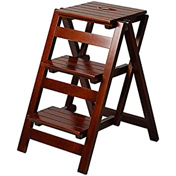 Amazon Com 3 Step Stool Home Wooden Folding Ladder Chair
