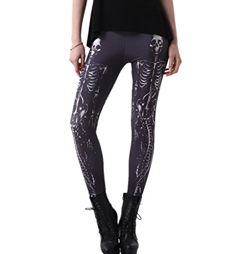 Joyhy Women's Stretchy Digital 3D Printed Plus Size Leggings Footless Tights Skull J038 3XL