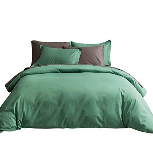 (SUSYBAO 3 Pieces Duvet Cover Set 100% Natural Cotton Queen Size 1 Duvet Cover 2 Pillow Shams Emerald Green Hotel Quality Ultra Soft Breathable Comfortable Fade Resistant Solid Bedding with Zipper Ties)