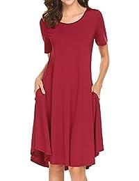 Womens Short Sleeve Pocket Casual Loose Swing Midi T Shirt Dress