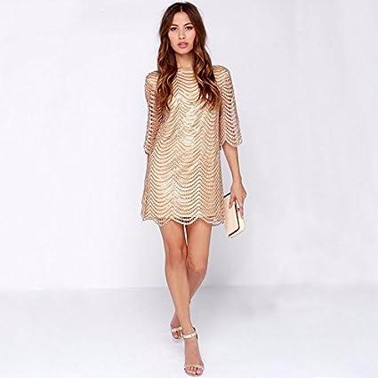 Vestidos De Fiesta Sexys Cortos Ropa De Moda Para Mujer y Noche Elegante Casuales Negro Dorado VE0050 at Amazon Womens Clothing store: