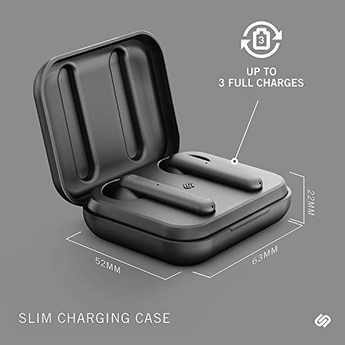 Urbanista Stockholm True Wireless Earbuds 14H Playtime Bluetooth 5.0 with Charging Case, Touch Controls & Dual Mic Earphones Compatible with Android and iOS - Black