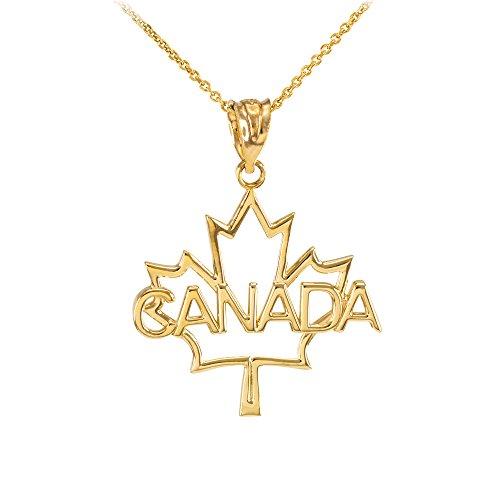 """Collier Femme Pendentif 14 Ct Or Jaune Ouvert Désign Feuille D'Érable """"Canada"""" Mot (Livré avec une 45cm Chaîne)"""