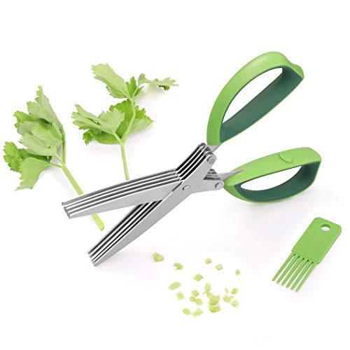 Herb Scissors, Besiva 5 Blades Stainless Steel Multipurpose Kitchen Shear With Cleaning Brush, Ideal for Chopping Food, Shredding Paper, Art Home Office ()