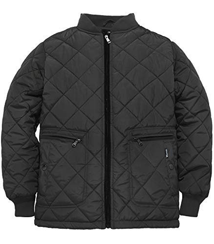 Nylon Jacket Quilted Bomber (Wantdo Men's Quilted Bomber Jacket Warm Padded Outdoor Diamond Puffer Coat Black X-Large)